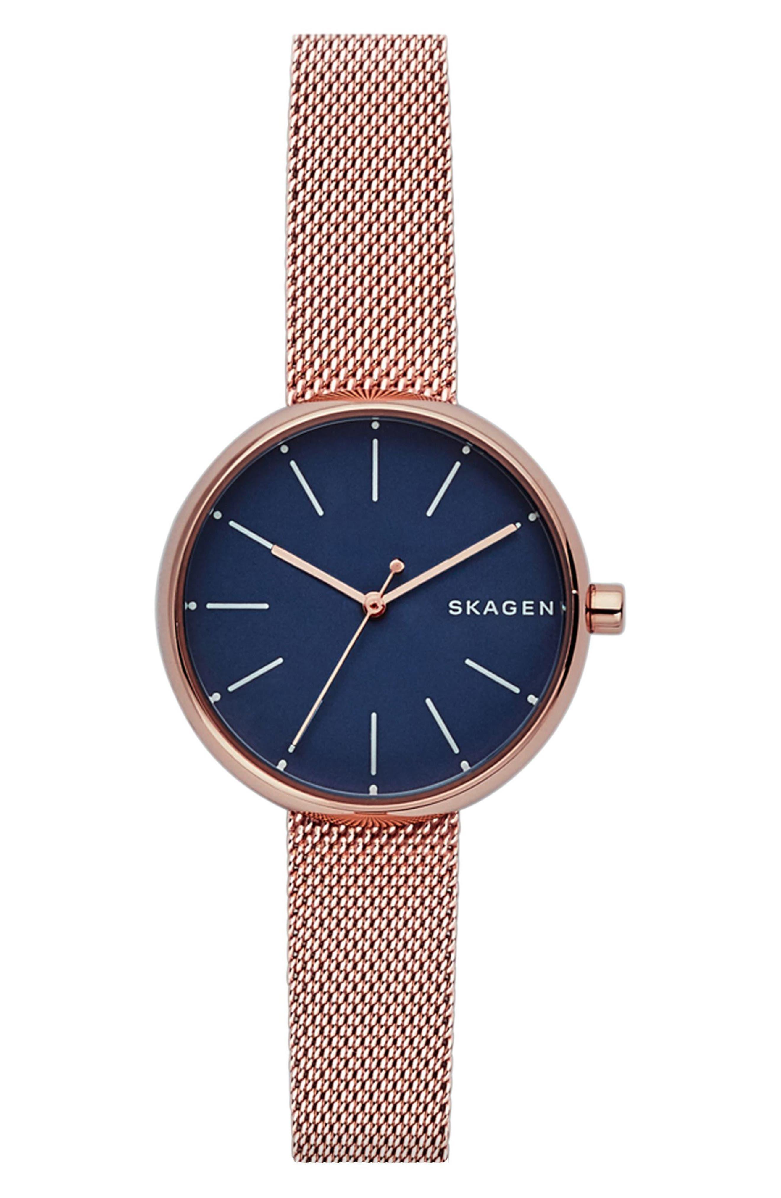 women's skagen round mesh strap watch, 30mm