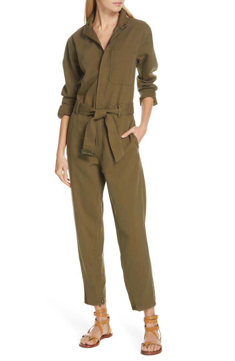 POLO RALPH LAUREN Belted Slim Jumpsuit, Main, color, DEFENDER GREEN