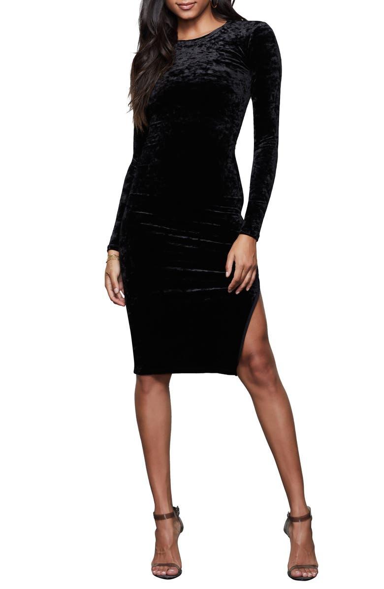 GOOD AMERICAN Side Slit Long Sleeve Velvet Dress, Main, color, BLACK