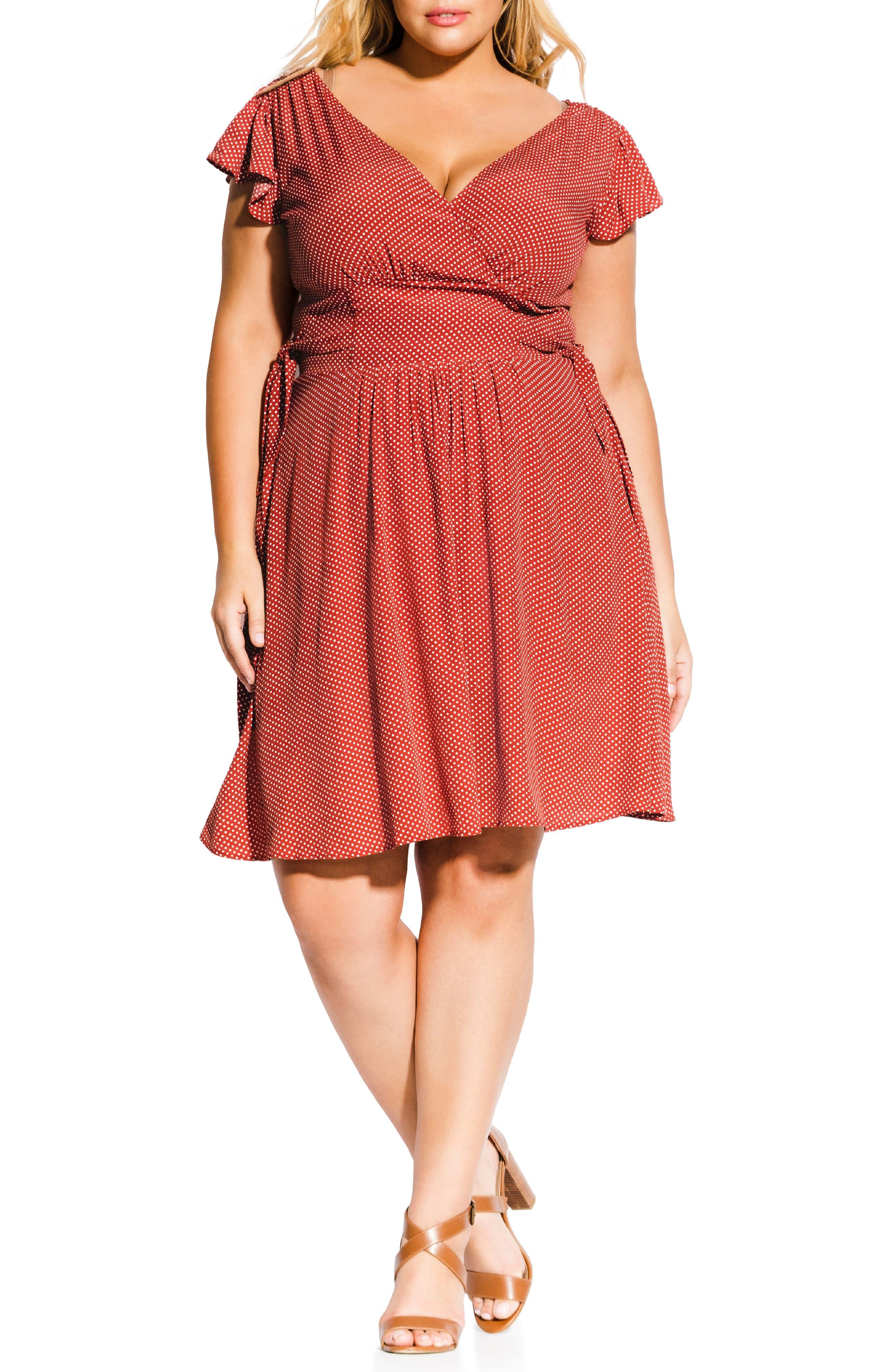 Plus Size City Chic Lucia Faux Wrap Dress, Orange