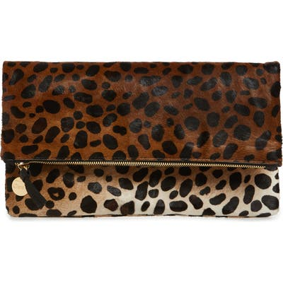 Clare V. Genuine Calf Hair Leopard Print Foldover Clutch - Brown