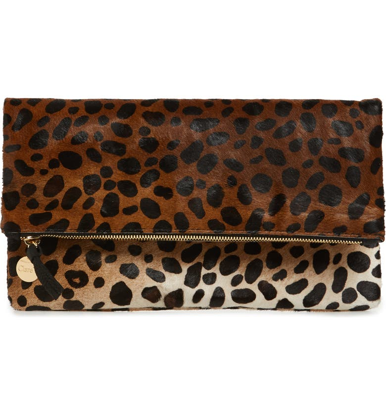 CLARE V. Genuine Calf Hair Leopard Print Foldover Clutch, Main, color, TAN