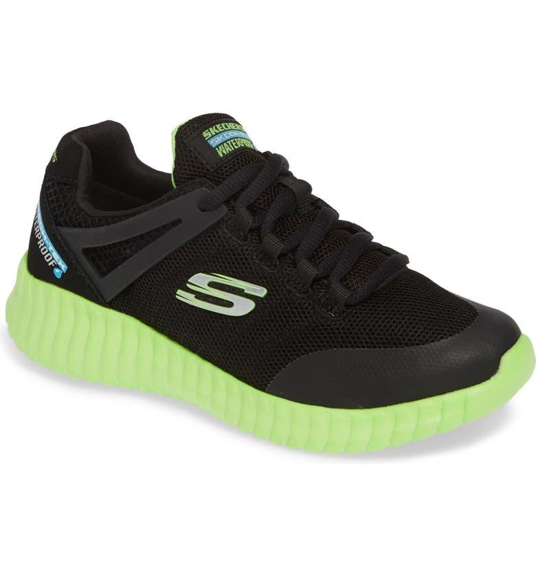 SKECHERS Elite Flex Hydropulse Waterproof Sneaker, Main, color, BLACK/ LIME