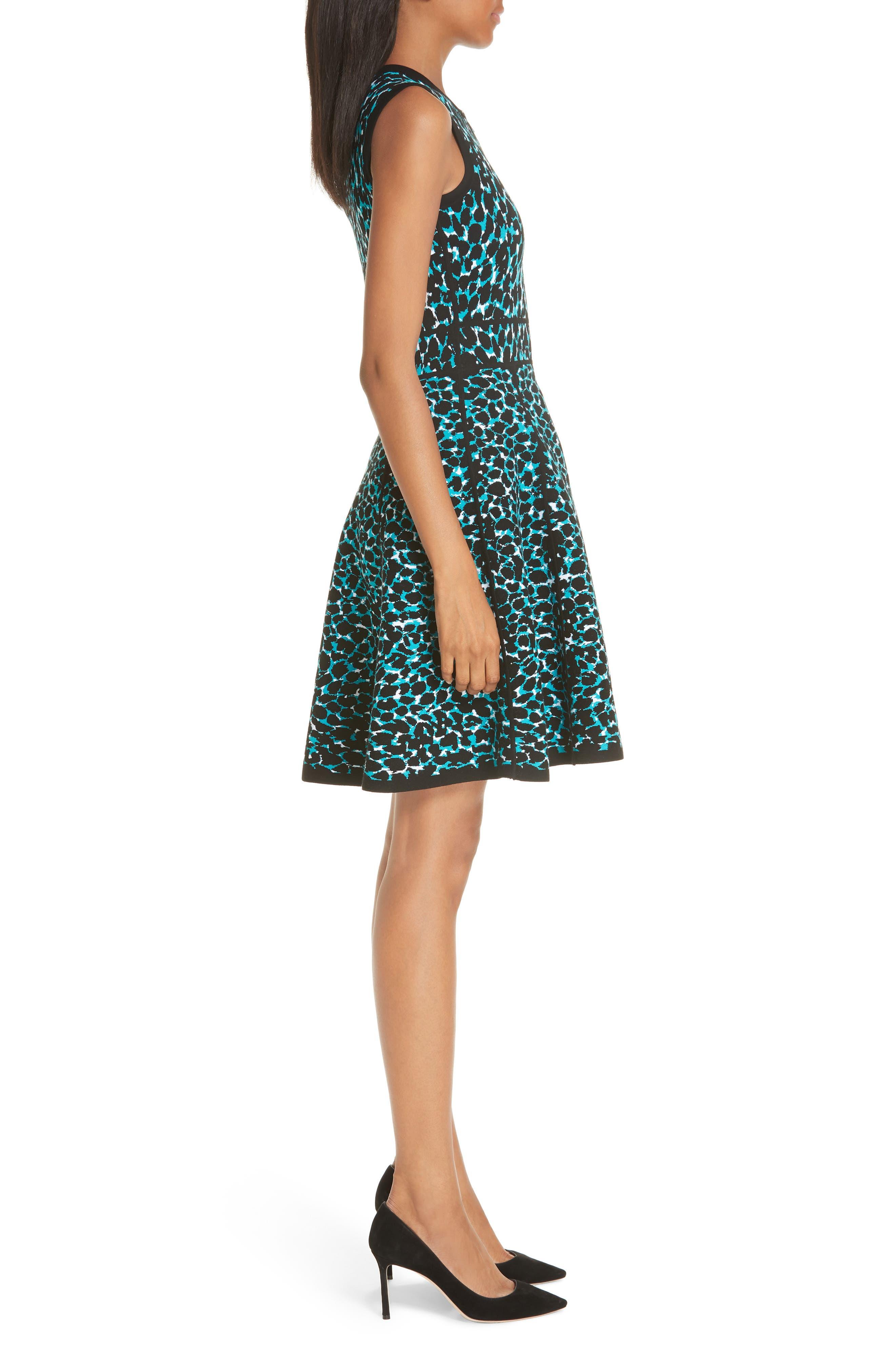 ,                             Leopard Print Zip Front Fit & Flare Dress,                             Alternate thumbnail 5, color,                             TURQUOISE W/ BLACK