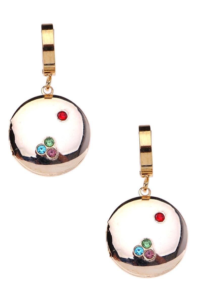 NAKAMOL CHICAGO Round Locket Huggie Hoop Earrings, Main, color, GOLD