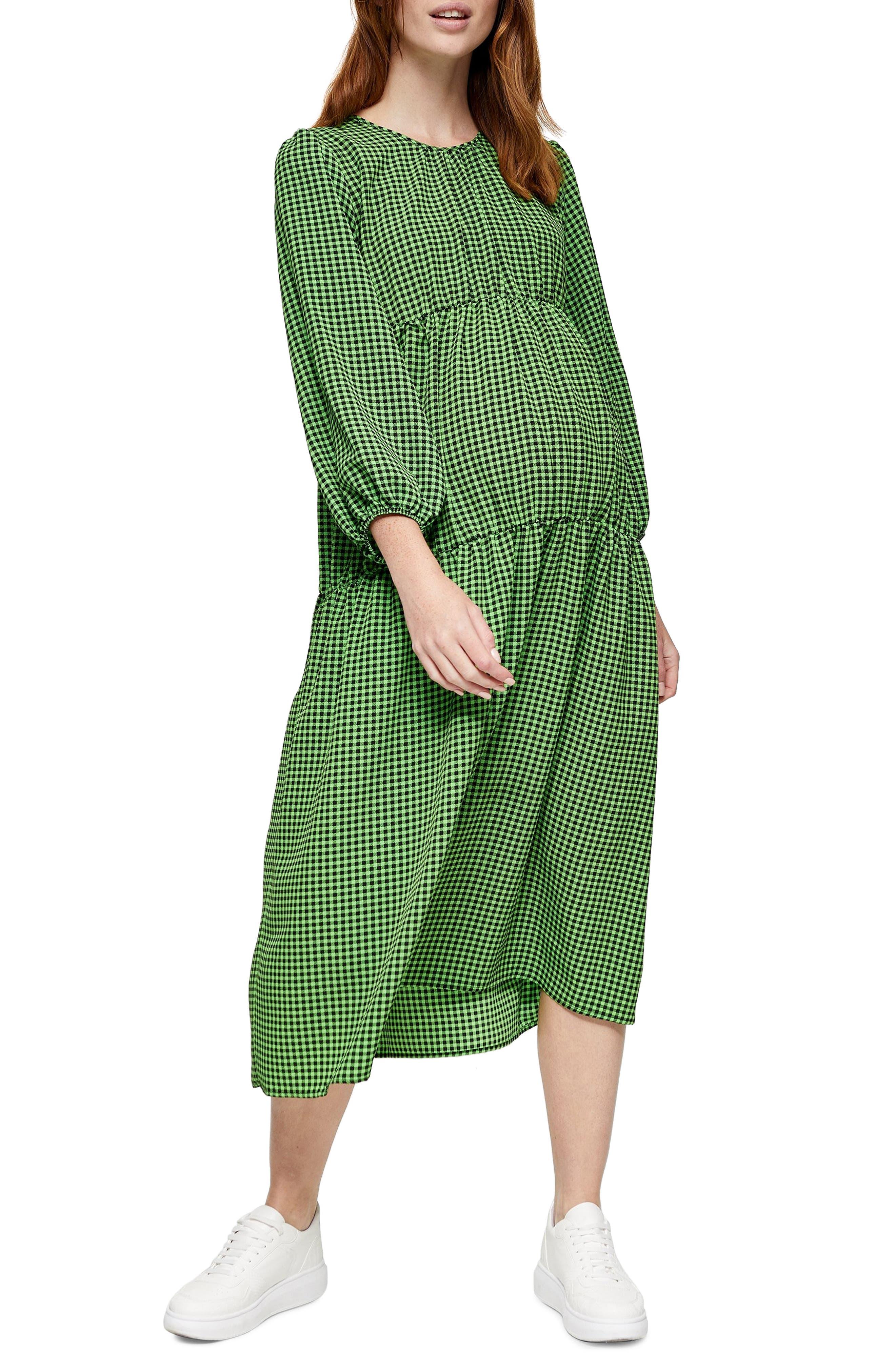 Vintage Maternity Dresses and Clothes Womens Topshop Gingham Smocked Long Sleeve Maternity Midi Dress $85.00 AT vintagedancer.com