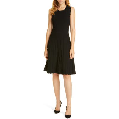Tailored By Rebecca Taylor Scalloped Ribbed Dress, Black