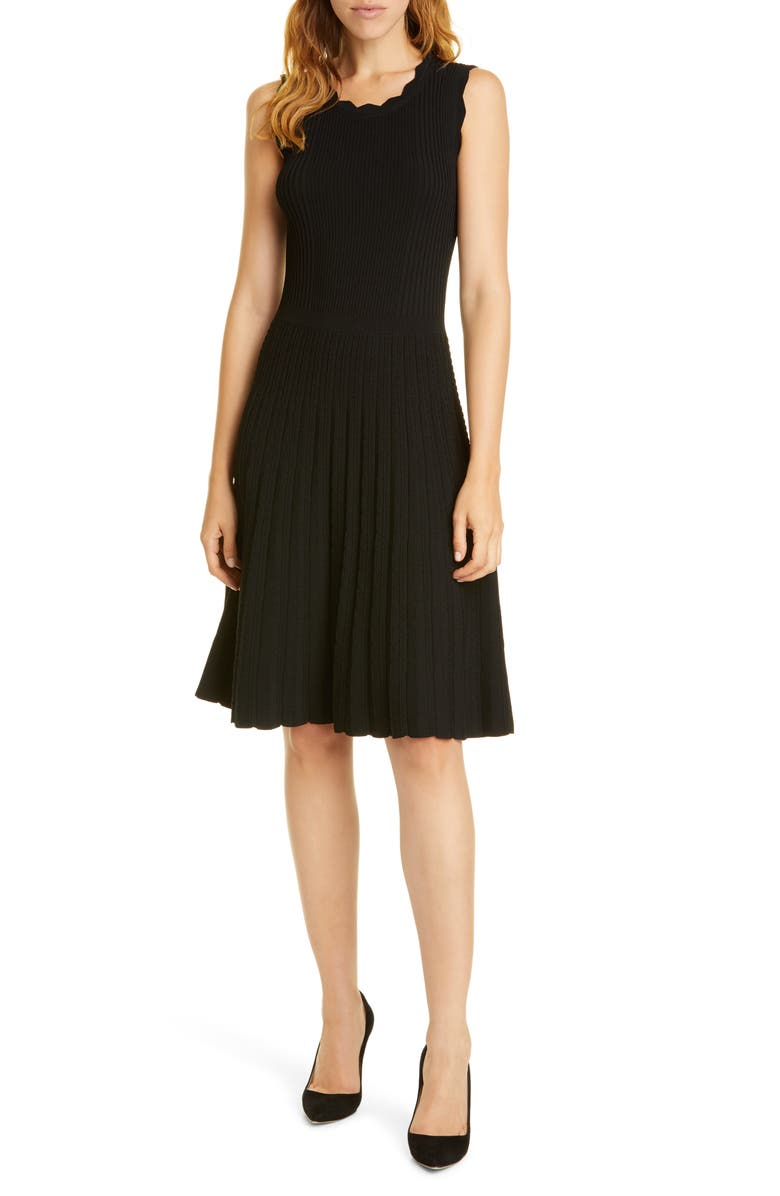 TAILORED BY REBECCA TAYLOR Scalloped Ribbed Dress, Main, color, BLACK