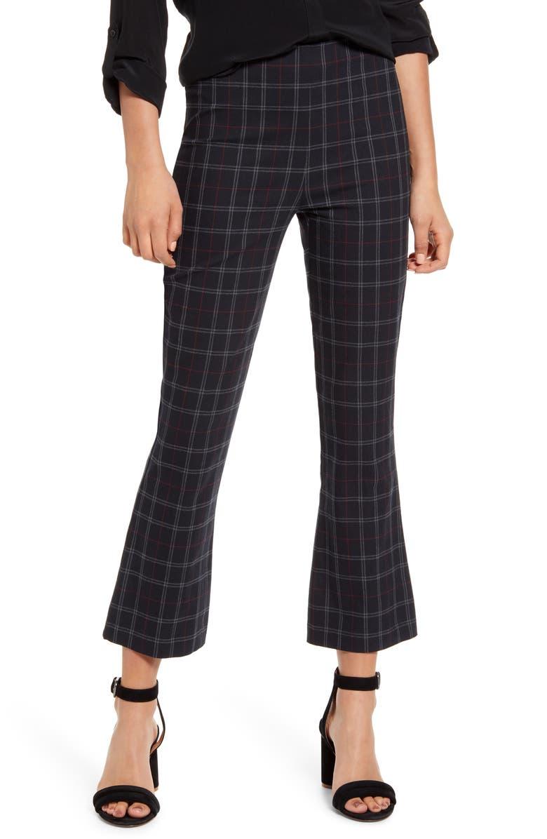 BAILEY 44 Marie Plaid Crop Flare Pants, Main, color, BLACK MULTI