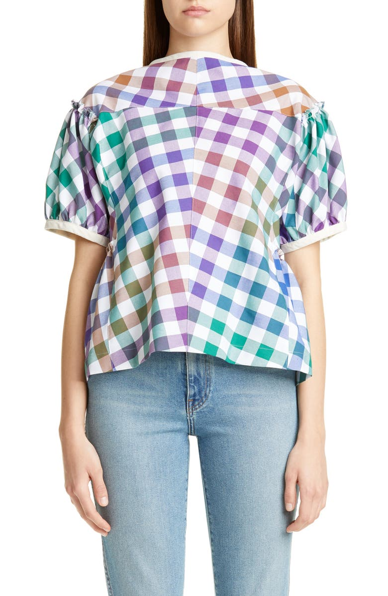 TRICOT COMME DES GARÇONS Madras Plaid Short Sleeve Top, Main, color, 960