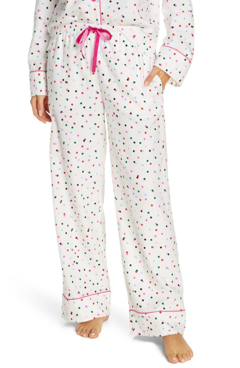 BAN.DO Party Dots Flannel Pajama Pants, Main, color, 100