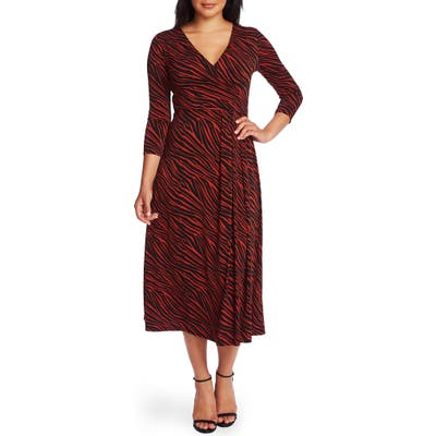 Chaus Zebra Stripe Faux Wrap Dress, Red