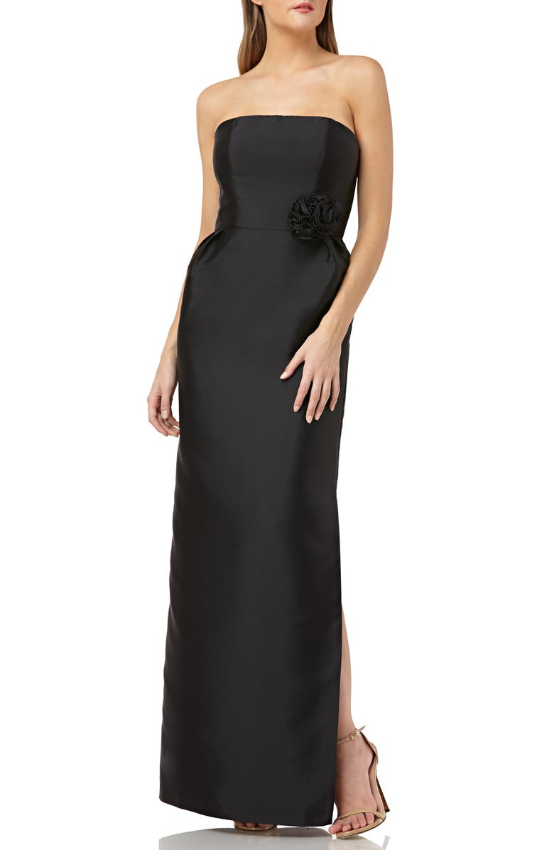KAY UNGER Strapless Mikado Evening Dress, Main, color, BLACK