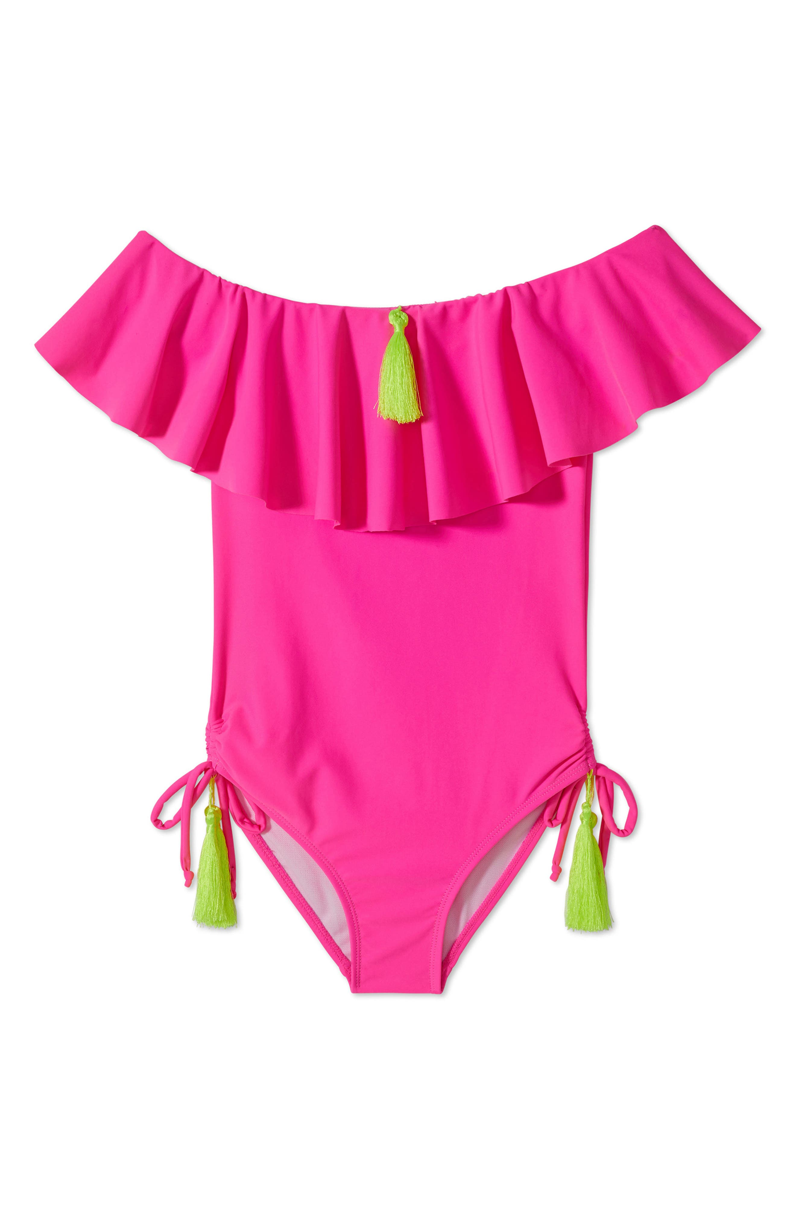 ,                             Ruffle One-Piece Swimsuit,                             Main thumbnail 1, color,                             650