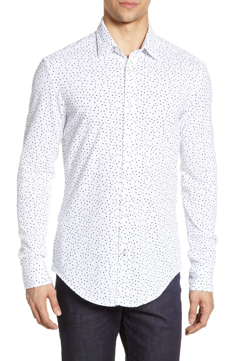 BOSS Ronni Slim Fit Dot Print Button-Up Shirt, Main, color, WHITE