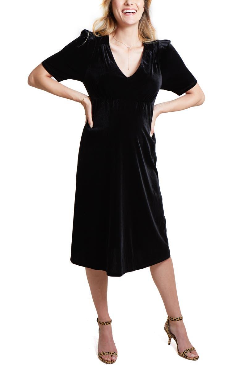 INGRID & ISABEL<SUP>®</SUP> Velvet V-Neck Midi Maternity Dress, Main, color, BLACK