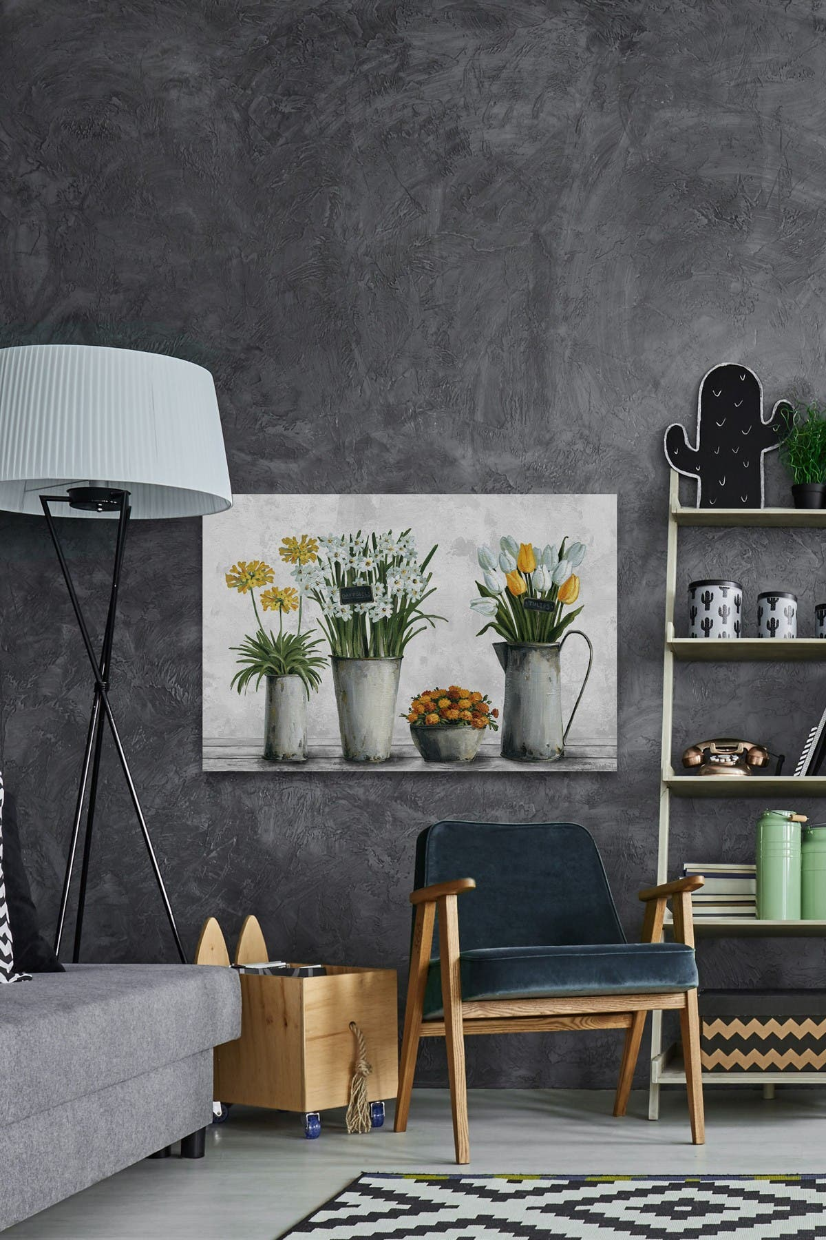 Image of Marmont Hill Inc. Tin Can Flower Containers Wall Art