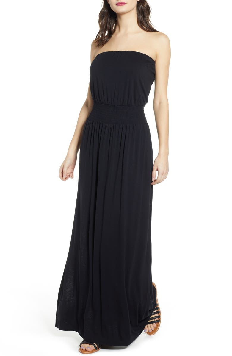 BP. Strapless Maxi Dress, Main, color, 001