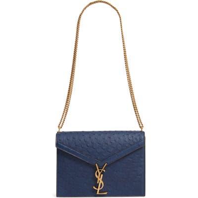 Saint Laurent Medium Cassandra Ostrich Leather Shoulder Bag - Blue