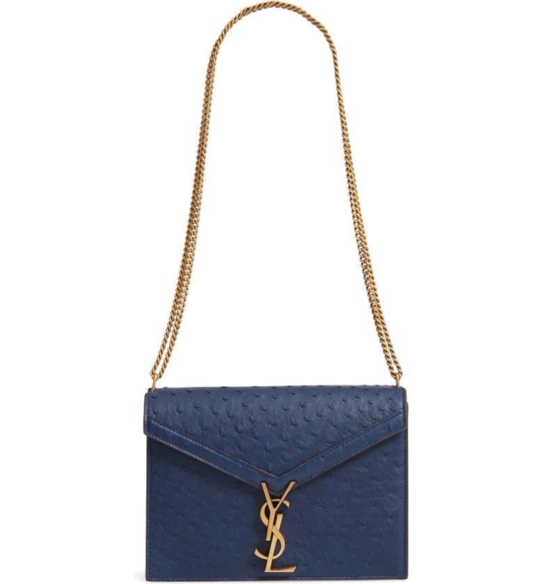 SAINT LAURENT Medium Cassandra Ostrich Leather Shoulder Bag, Main, color, NEW COBALT/ EBONY DK