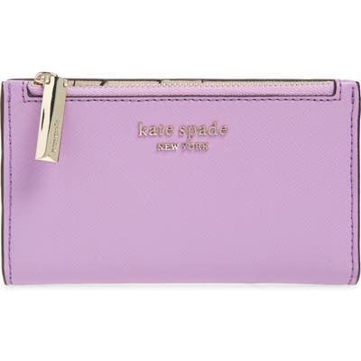 Kate Spade New York Small Spencer Saffiano Leather Bifold Wallet - Purple