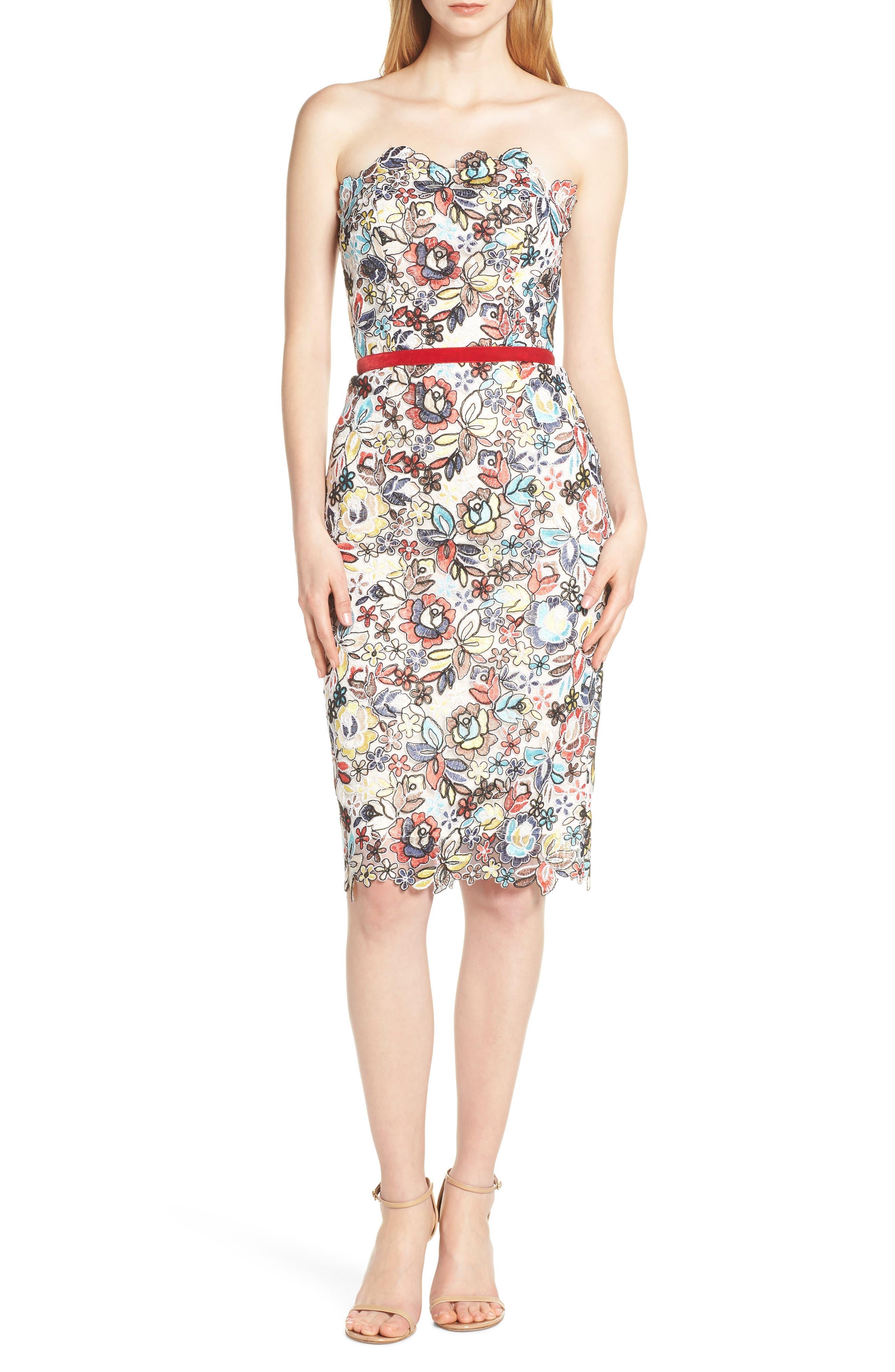 Bronx And Banco Maria Blanc Strapless Pencil Dress, White