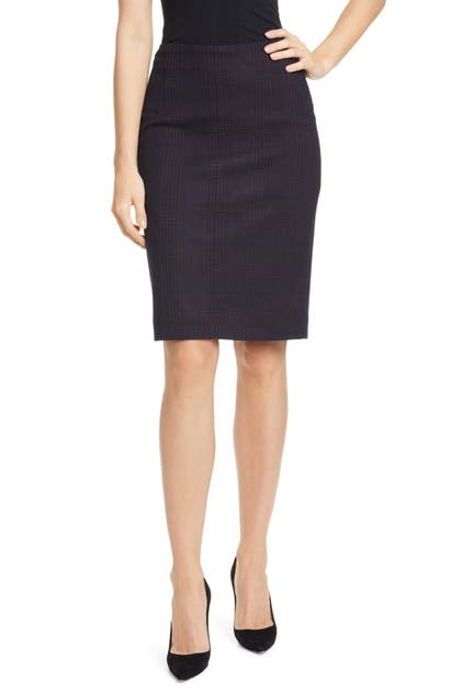Boss Vidar Glen Check Pencil Skirt In Midnight Fantasy