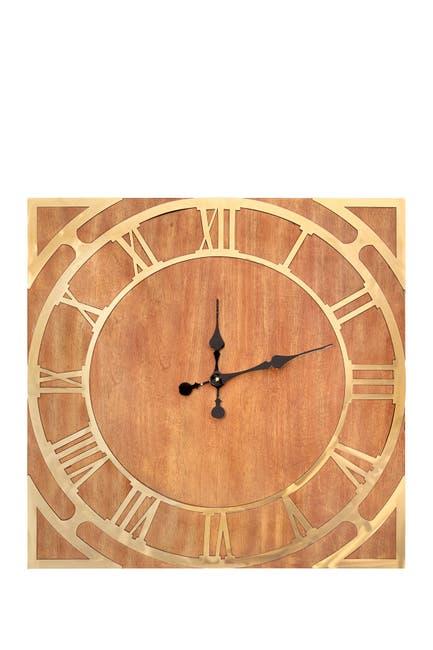 Image of SAGEBROOK HOME Square Wood Wall Clock