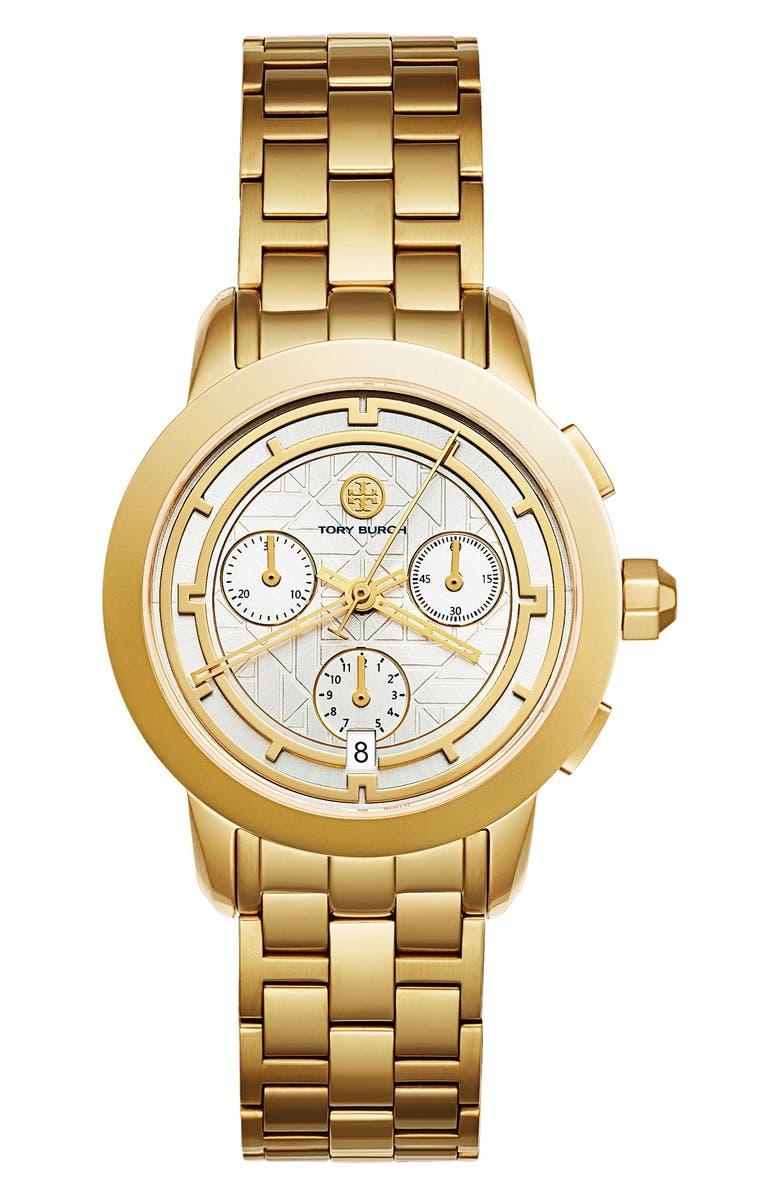 TORY BURCH Classic Chronograph Bracelet Watch, 37.5mm, Main, color, 710
