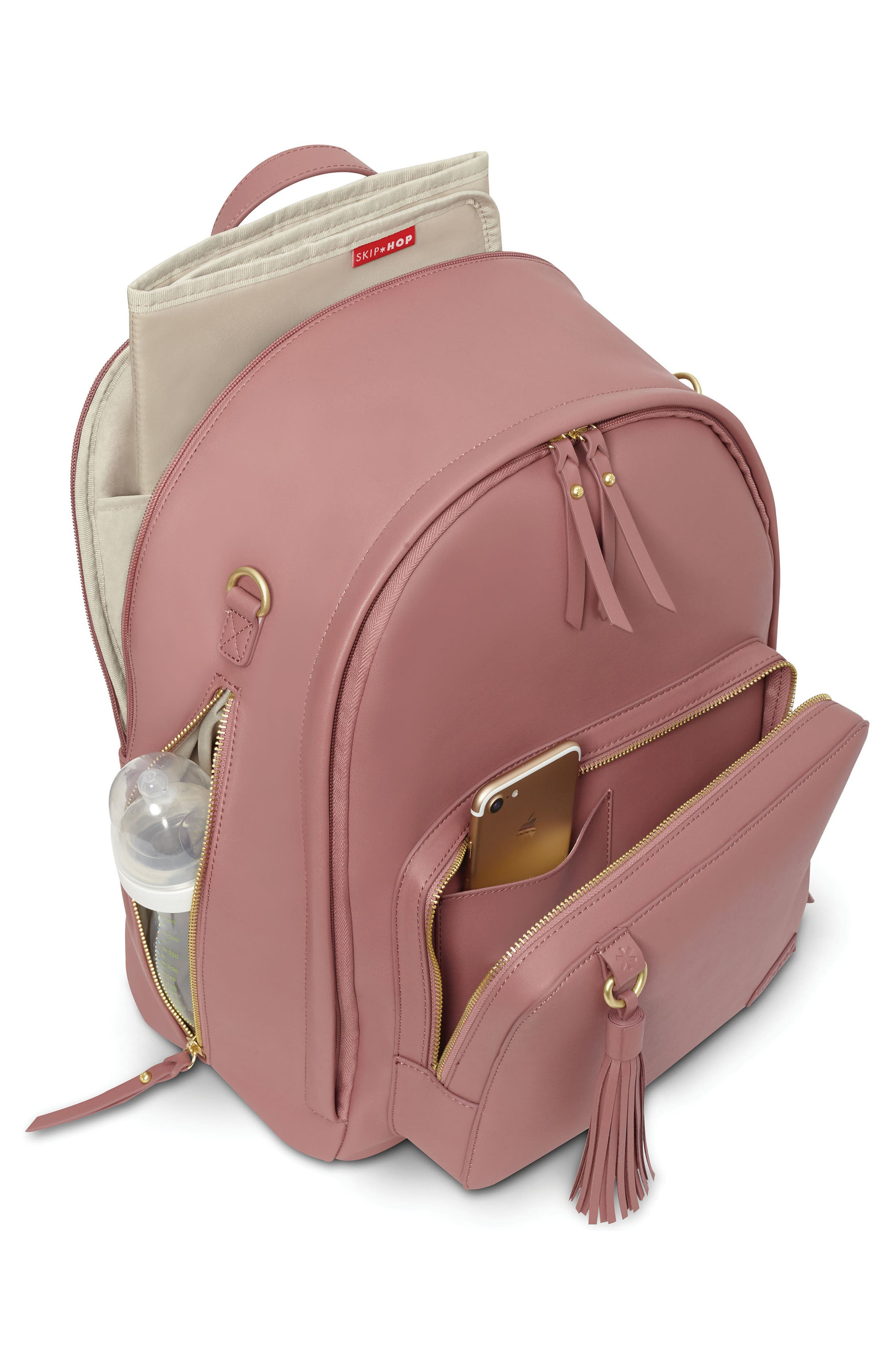 ,                             Greenwich Simply Chic Diaper Backpack,                             Alternate thumbnail 4, color,                             DUSTY ROSE