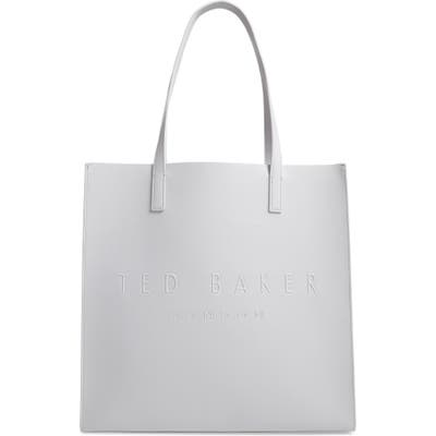 Ted Baker London Large Soocon Embossed Logo Icon Tote - Grey