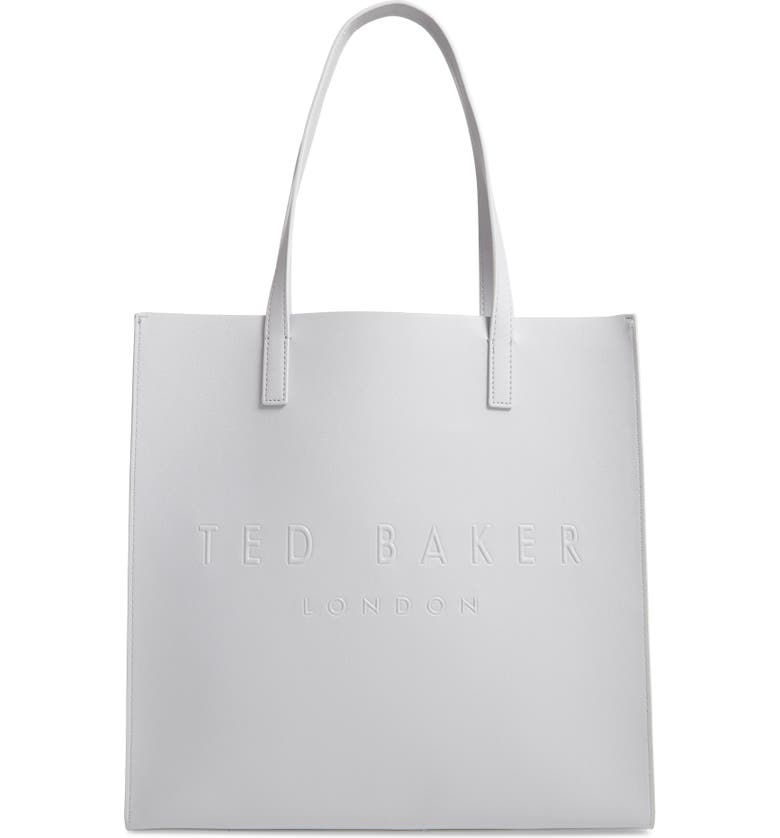 TED BAKER LONDON Large Soocon Embossed Logo Icon Tote, Main, color, LIGHT GREY