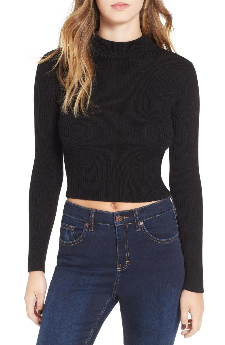 ASTR THE LABEL ASTR 'Nellie' Crop Mock Neck Sweater, Main, color, 001