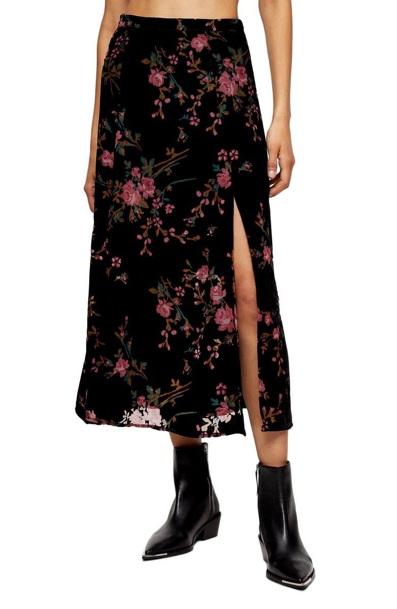 TOPSHOP Slit Floral Velvet Midi Skirt, Main, color, BLACK