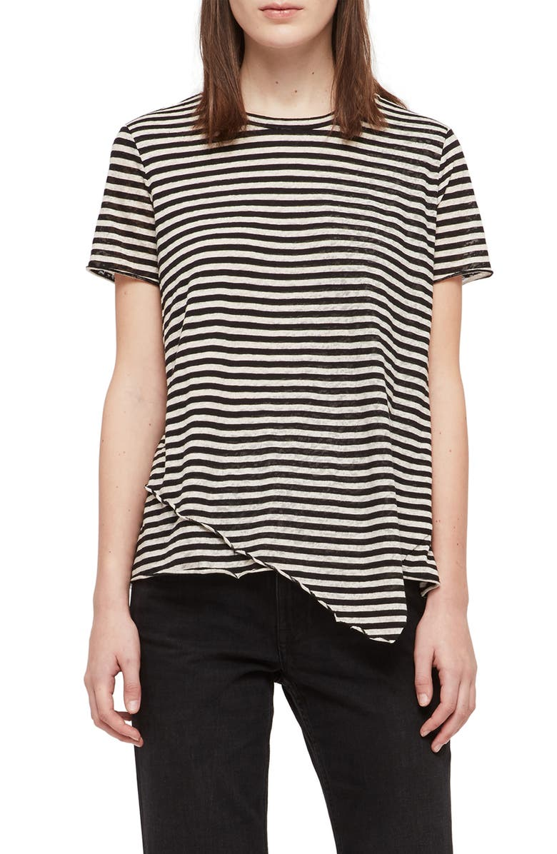 ALLSAINTS Daisy Stripe Tee, Main, color, INK/ CHALK WHITE