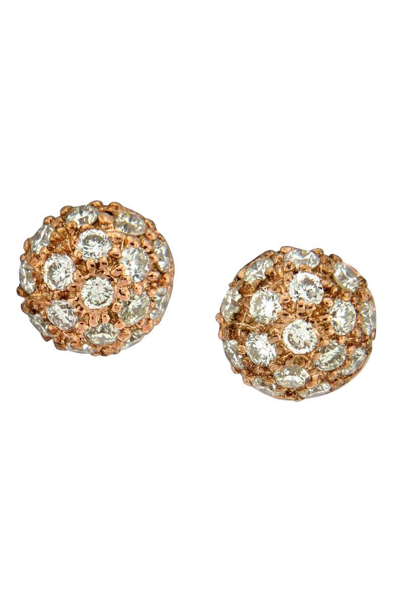 SETHI COUTURE Diamond Pavé Ball Stud Earrings, Main, color, ROSE GOLD/ DIAMOND