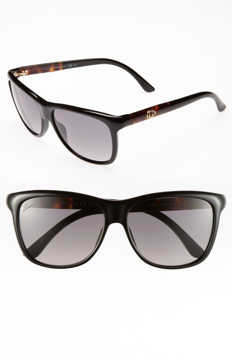 GUCCI 57mm Retro Sunglasses, Main, color, 001