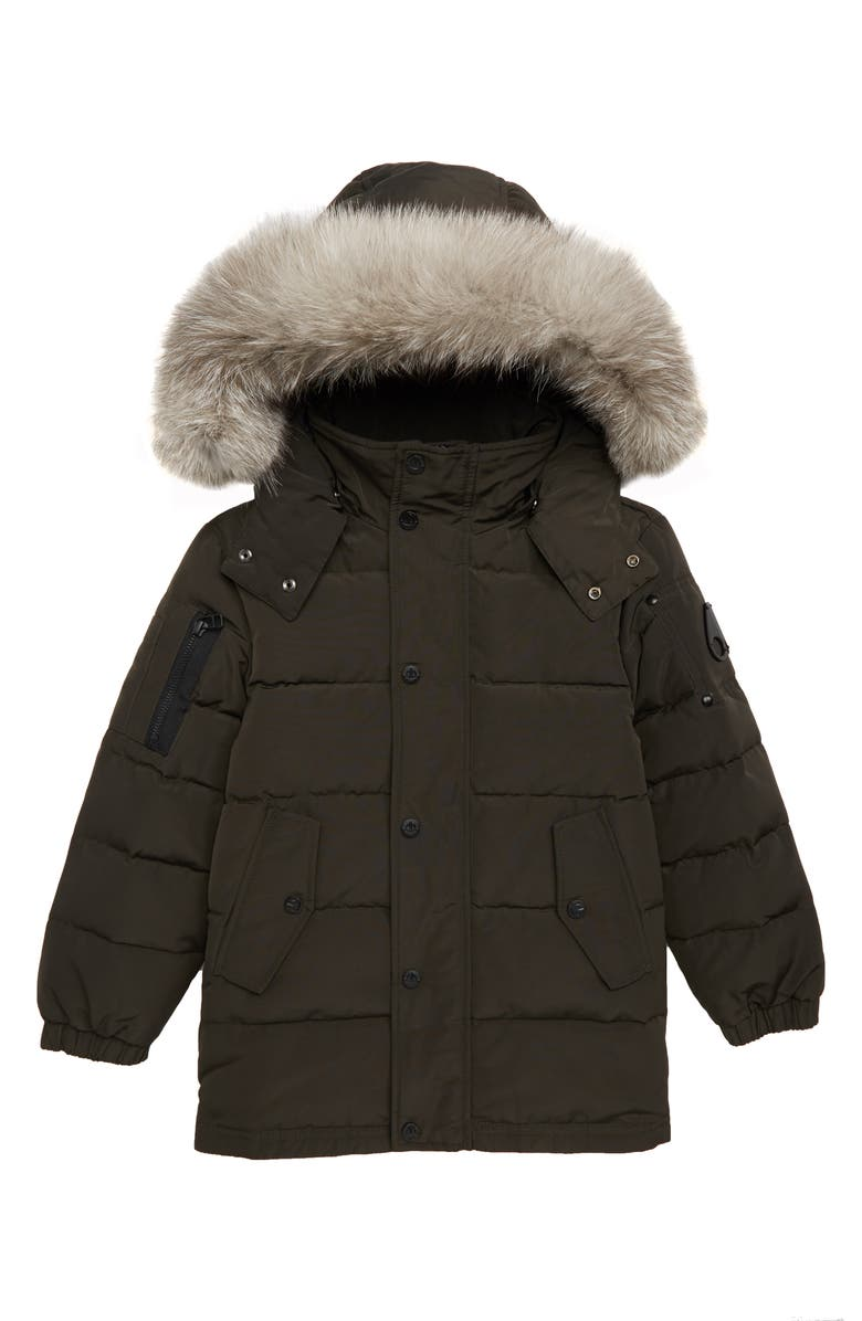 MOOSE KNUCKLES Midcore Quilted Hooded Parka with Genuine Fox Fur Trim, Main, color, 020