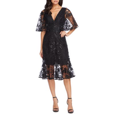 Dress The Population Roseanna Lace Sequin Fit & Flare Dress, Black