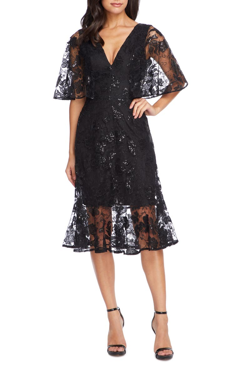 DRESS THE POPULATION Roseanna Lace Sequin Fit & Flare Dress, Main, color, 001
