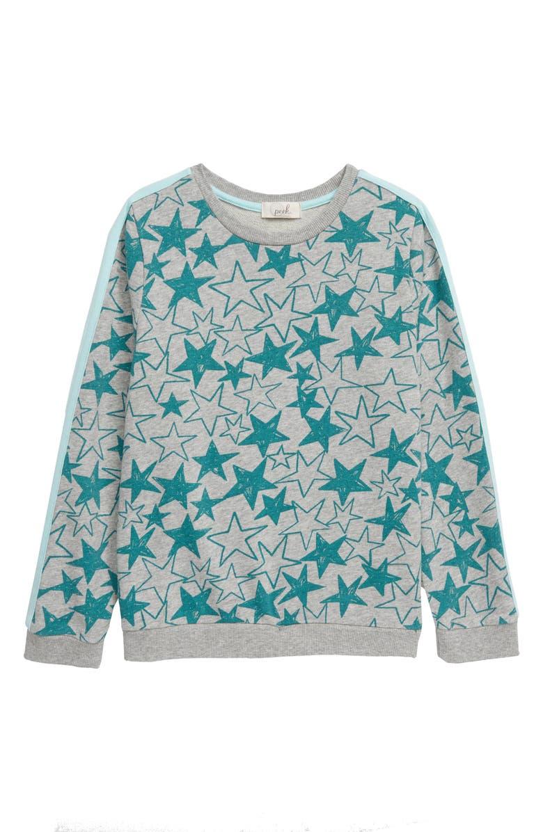 PEEK AREN'T YOU CURIOUS Star Print Sweatshirt, Main, color, GREY HEATHER