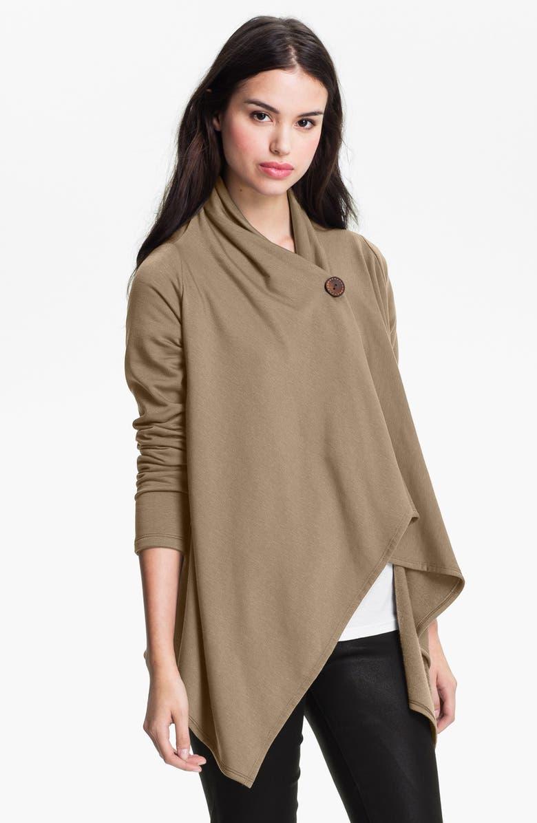 BOBEAU One-Button Fleece Wrap Cardigan, Main, color, MINK
