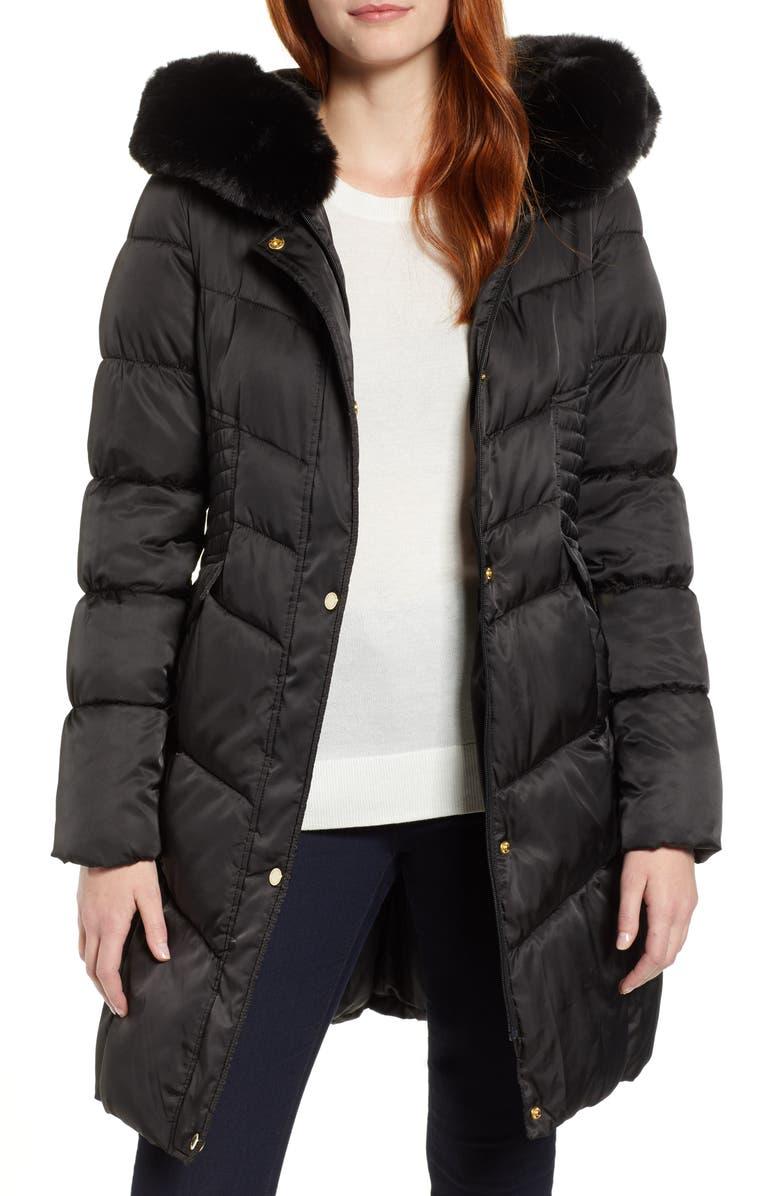 VIA SPIGA Faux Fur Trim Puffer Jacket, Main, color, 001