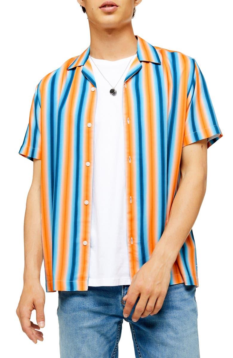 TOPMAN Gradual Stripe Short Sleeve Button-Up Camp Shirt, Main, color, BLUE MULTI