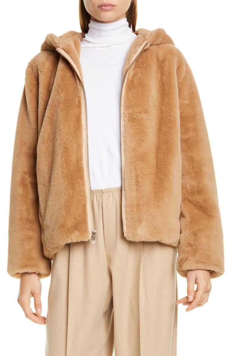 VINCE Faux Fur Hoodie, Main, color, SAND DOLLAR