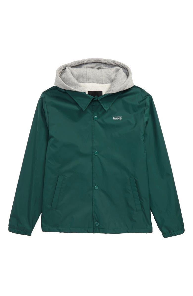 VANS Riley Water Resistant Hooded Jacket, Main, color, VANS TREKKING GREEN