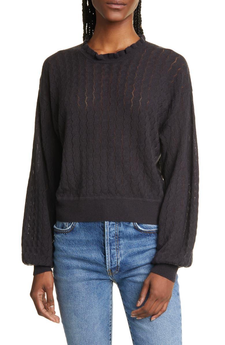 JOIE Hadar Pointelle Wool Blend Sweater, Main, color, 001