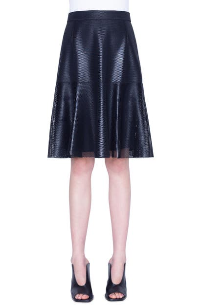 Akris Punto LACQUERED LACE A-LINE SKIRT