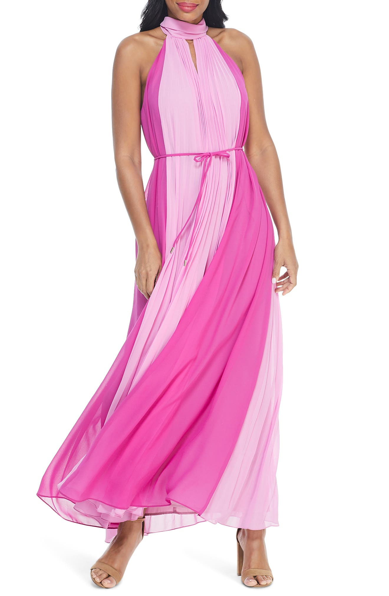1960s Cocktail, Party, Prom, Evening Dresses Womens Maggy London Katerina Colorblock Halter Neck Maxi Dress Size 14 - Pink $148.00 AT vintagedancer.com