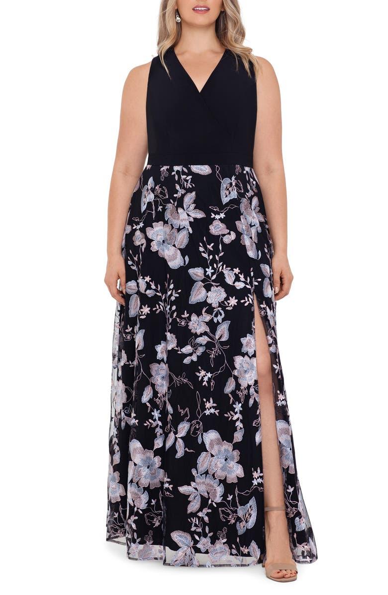 XSCAPE Floral Embroidery V-Neck Gown, Main, color, BLACK/ BLUSH